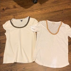 Lot of 2 T shirts white J.Crew and Ann Taylor
